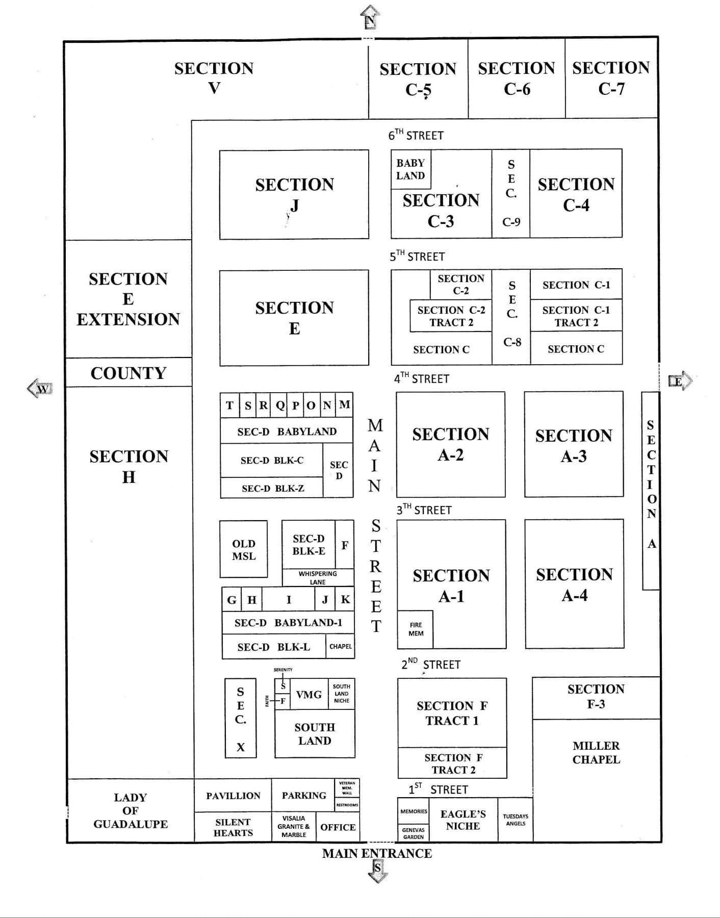 Map Visalia Public Cemetery